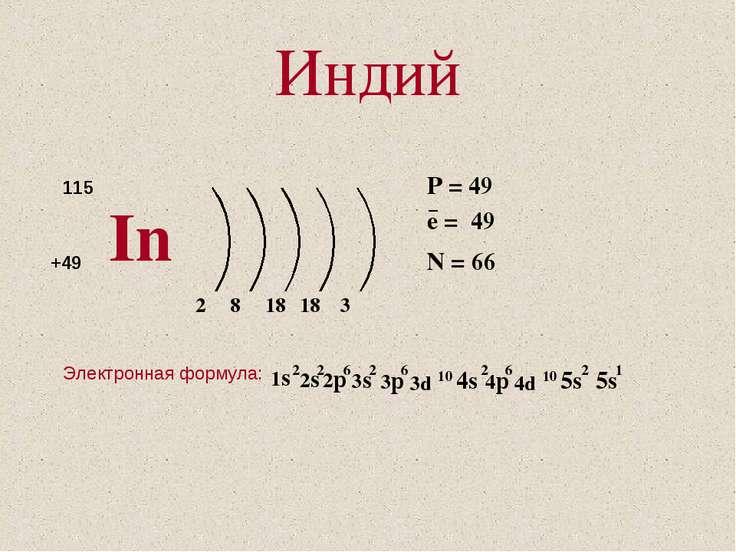 Индий In 115 +49 8 18 3 18 2 P = 49 e = 49 N = 66 Электронная формула: −