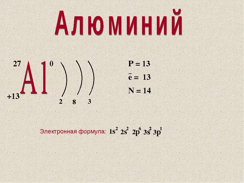 27 +13 0 2 8 3 P = 13 e = 13 N = 14 − Электронная формула: