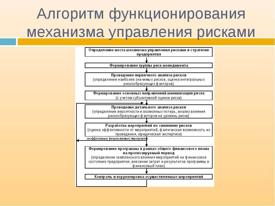Алгоритм функционирования механизма управления рисками
