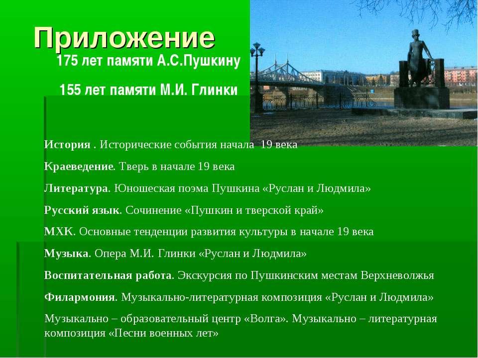 Приложение 175 лет памяти А.С.Пушкину 155 лет памяти М.И. Глинки История . Ис...