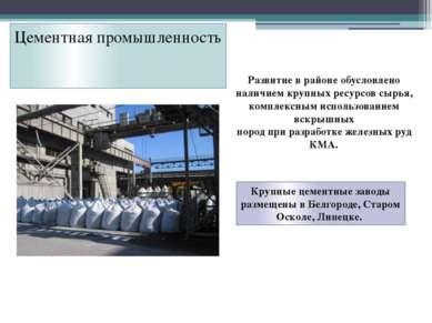 Цементная промышленность Развитие в районе обусловлено наличием крупных ресур...