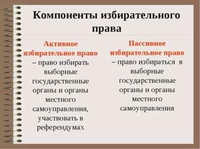 Компоненты избирательного права Активное избирательное право – право избирать...