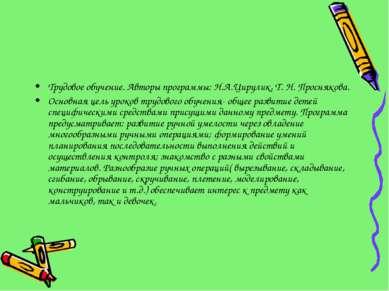 Трудовое обучение. Авторы программы: Н.А.Цирулик, Т. Н. Проснякова. Основная ...