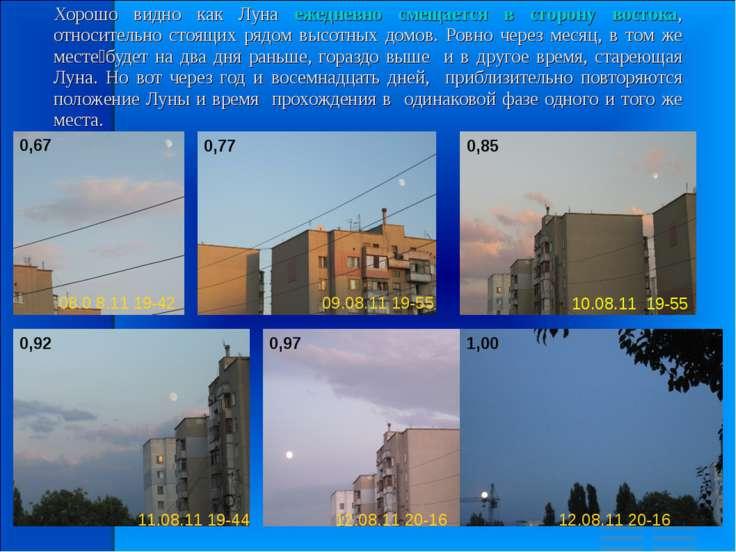 Хорошо видно как Луна ежедневно смещается в сторону востока, относительно сто...