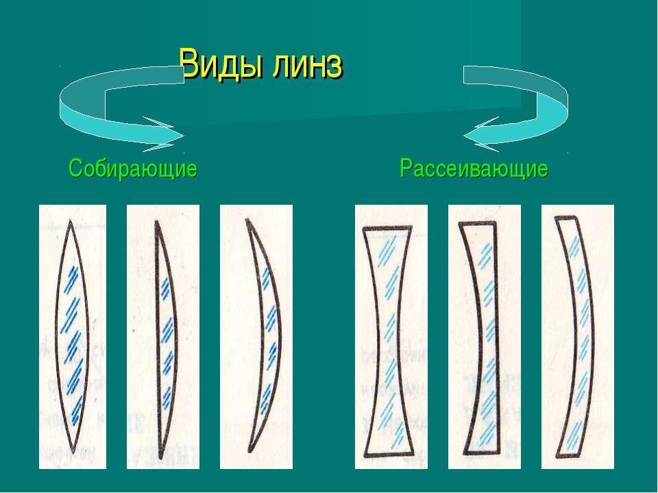 Виды линз Собирающие Рассеивающие