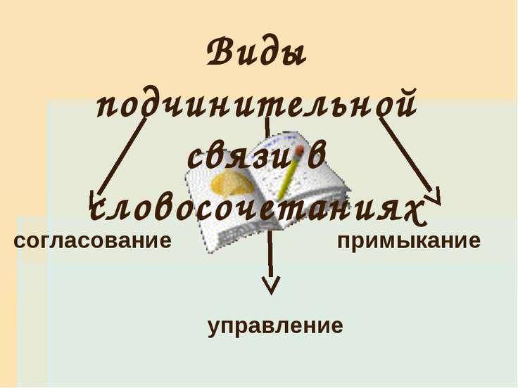 Виды подчинительной связи в словосочетаниях согласование управление примыкание