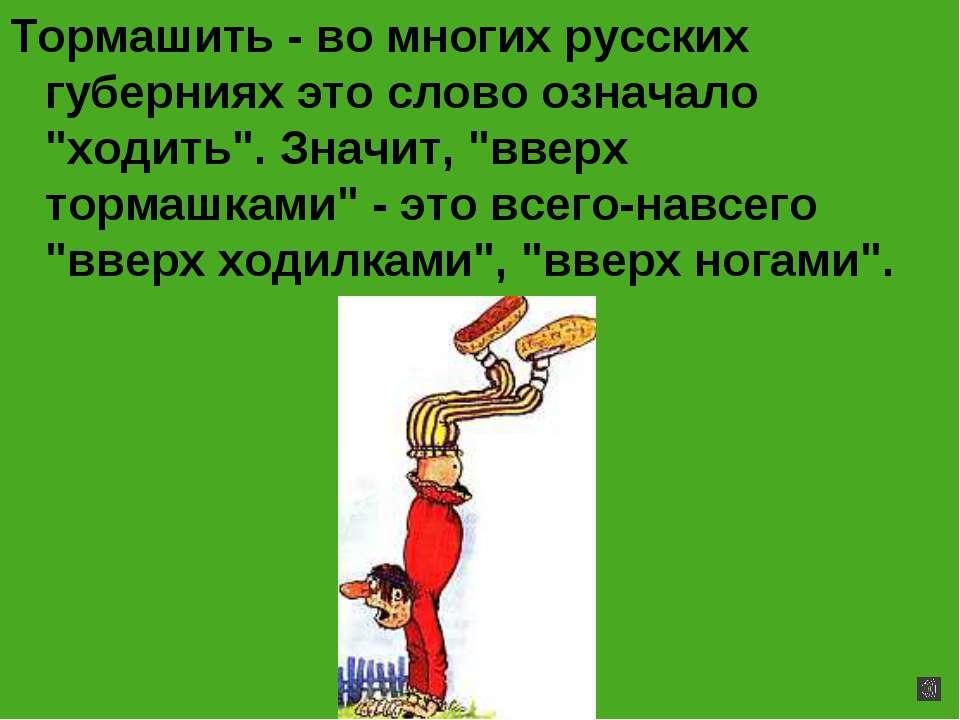 """Тормашить - во многих русских губерниях это слово означало """"ходить"""". Значит, ..."""