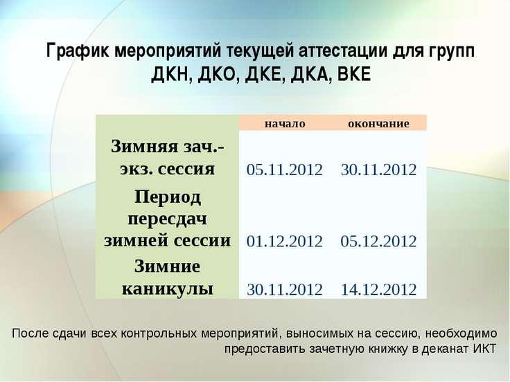 График мероприятий текущей аттестации для групп ДКН, ДКО, ДКЕ, ДКА, ВКЕ После...