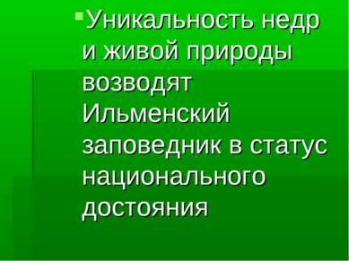 Уникальность недр иживой природы возводят Ильменский заповедник встатус нац...