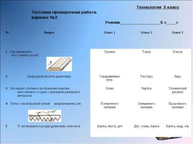 Технология 5 класс Тестовая проверочная работа. вариант №2 Ученик____________...