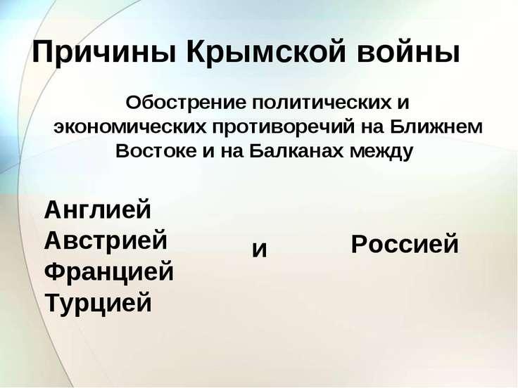 Причины Крымской войны Обострение политических и экономических противоречий н...