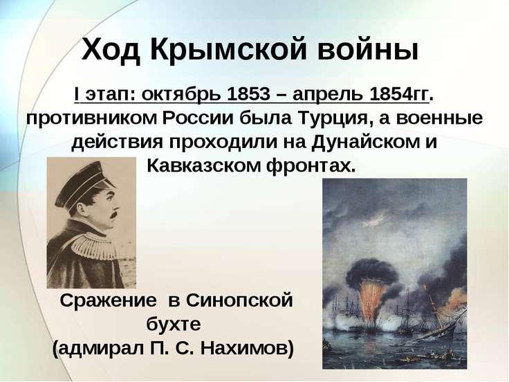 Ход Крымской войны I этап: октябрь 1853 – апрель 1854гг. противником России б...
