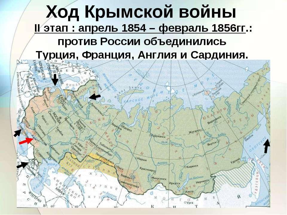 II этап : апрель 1854 – февраль 1856гг.: против России объединились Турция, Ф...