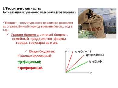 2.Теоритическая часть: Активизация изученного материала (повторение) Бюджет –...