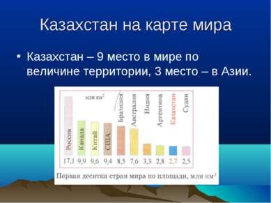 Казахстан на карте мира Казахстан – 9 место в мире по величине территории, 3 ...