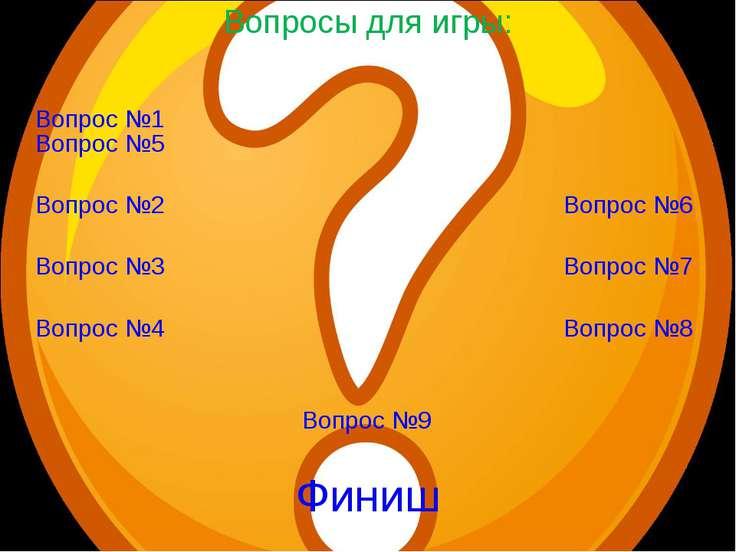 Вопросы для игры: Вопрос №1 Вопрос №5 Вопрос №2 Вопрос №6 Вопрос №3 Вопрос №7...