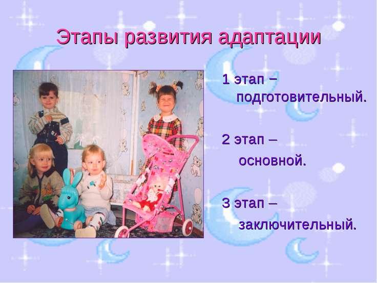 Этапы развития адаптации 1 этап − подготовительный. 2 этап – основной. 3 этап...