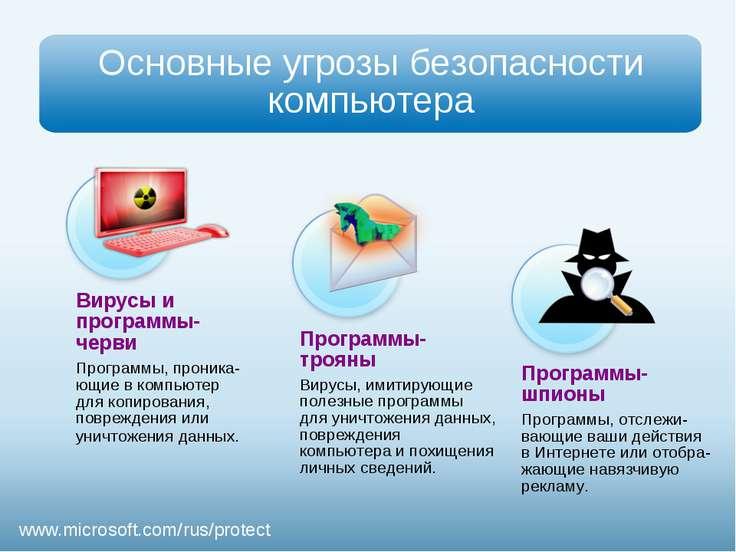 Вирусы и программы-черви Программы, проника-ющие в компьютер для копирования,...