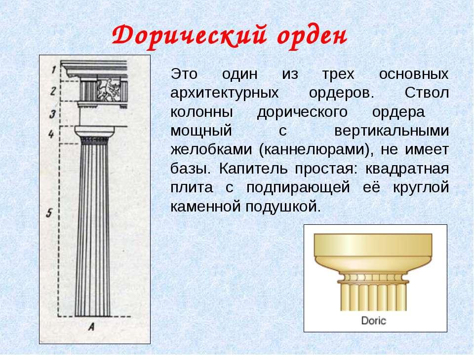 Дорический орден Это один из трех основных архитектурных ордеров. Ствол колон...