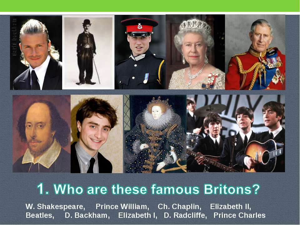 W. Shakespeare, Prince William, Ch. Chaplin, Elizabeth II, Beatles, D. Backha...