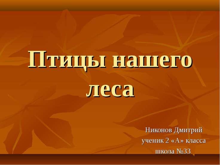 Птицы нашего леса Никонов Дмитрий ученик 2 «А» класса школа №33