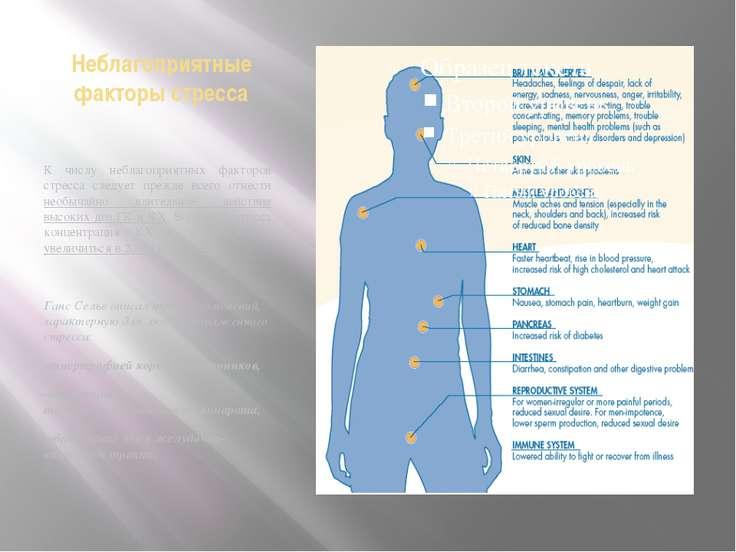 Неблагоприятные факторы стресса К числу неблагоприятных факторов стресса след...