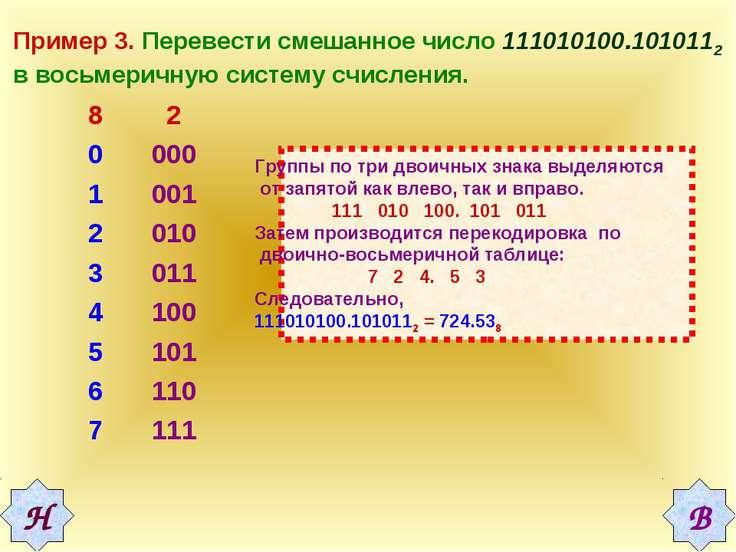 Пример 3. Перевести смешанное число 111010100.1010112 в восьмеричную систему ...
