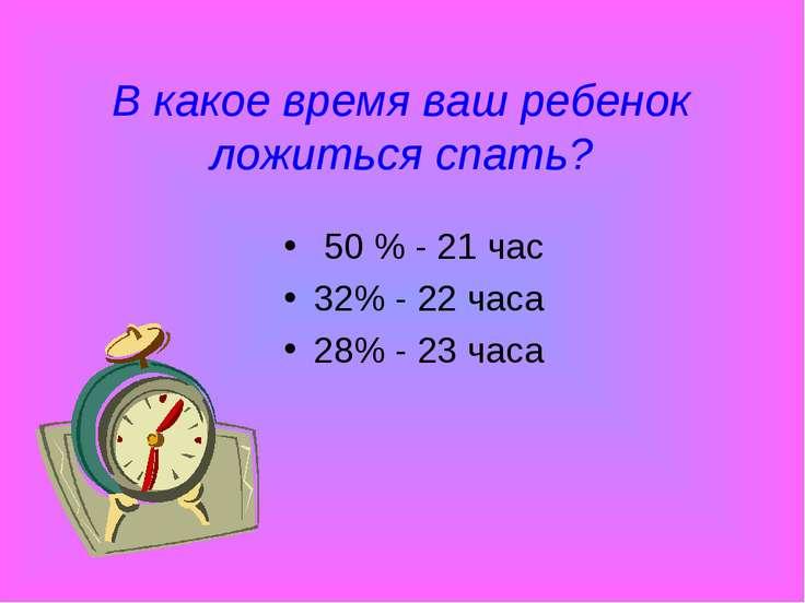 В какое время ваш ребенок ложиться спать? 50 % - 21 час 32% - 22 часа 28% - 2...