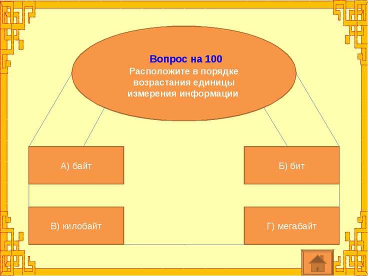 Вопрос на 100 Расположите в порядке возрастания единицы измерения информации ...