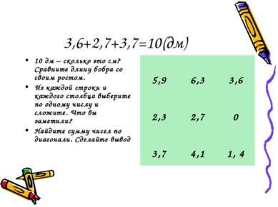 3,6+2,7+3,7=10(дм) 10 дм – сколько это см? Сравните длину бобра со своим рост...
