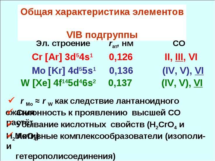 Общая характеристика элементов VIB подгруппы Эл. cтроение rат, нм СО Cr [Ar] ...