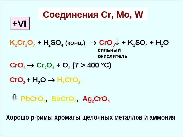 Соединения Cr, Mo, W +VI K2Cr2O7 + H2SO4 (конц.) CrO3 + K2SO4 + H2O CrO3 Cr2O...
