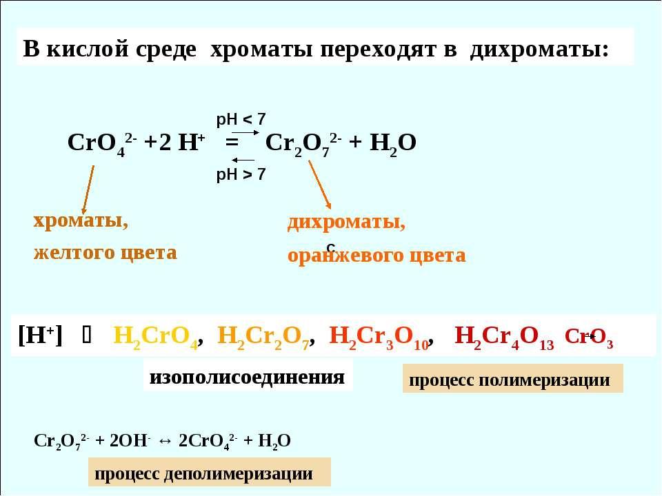 C В кислой среде хроматы переходят в дихроматы: СrO42- +2 H+ = Cr2O72- + H2O ...