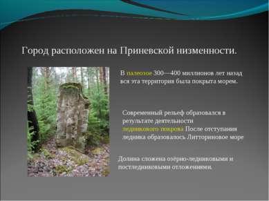 Город расположен на Приневской низменности. В палеозое 300—400 миллионов лет ...