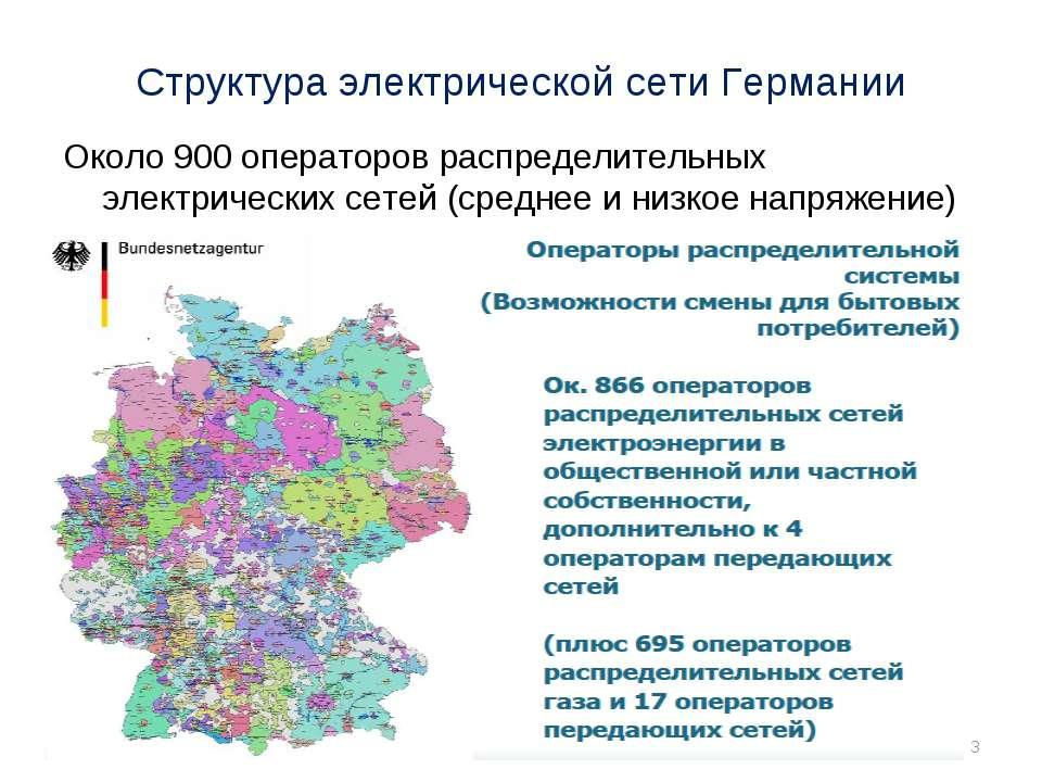 Структура электрической сети Германии Около 900 операторов распределительных ...