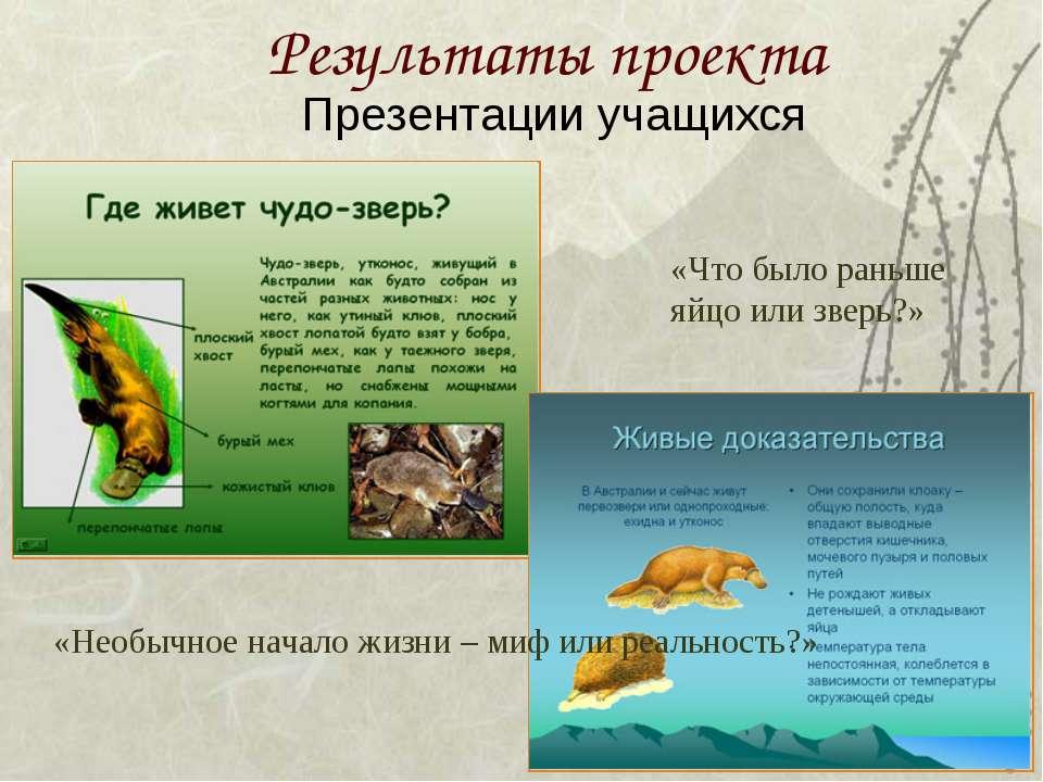 Результаты проекта Презентации учащихся «Необычное начало жизни – миф или реа...
