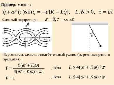 q q Пример: маятник Фазовый портрет при Вероятность захвата в колебательный р...