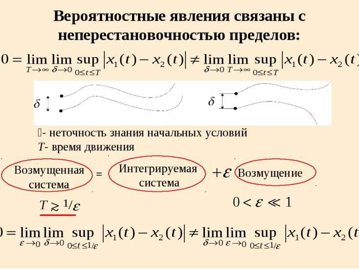 Вероятностные явления связаны с неперестановочностью пределов: d- неточность ...