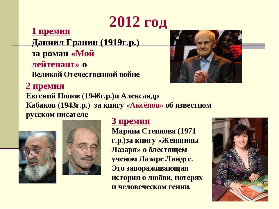 2012 год 1 премия Даниил Гранин (1919г.р.) за роман «Мой лейтенант» о Великой...