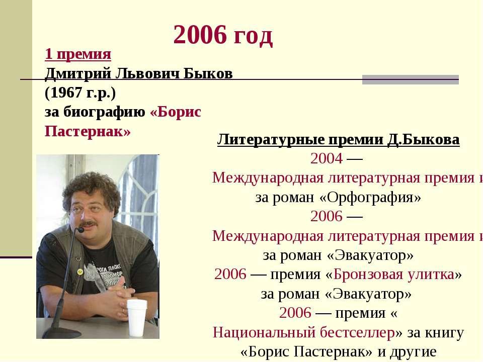 2006 год 1 премия Дмитрий Львович Быков (1967 г.р.) за биографию «Борис Пасте...
