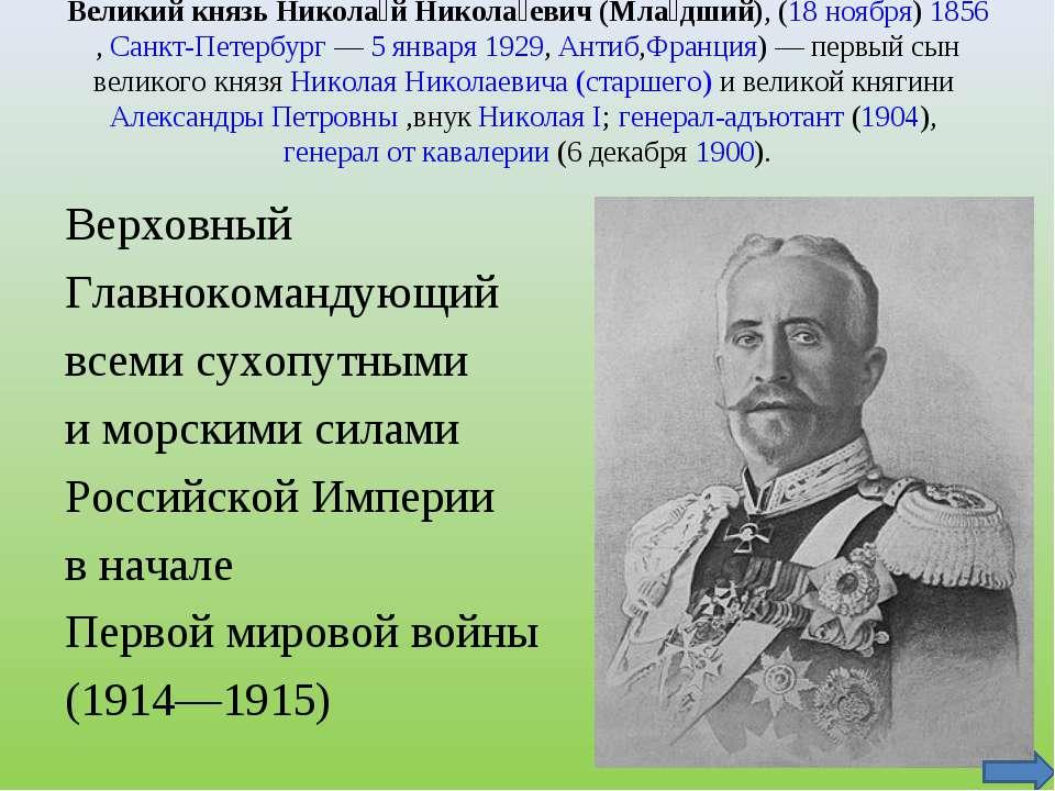 Великий князь Никола й Никола евич (Мла дший), (18 ноября)1856,Санкт-Петерб...