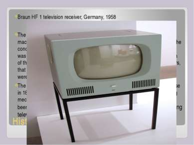 History of TV Braun HF 1 television receiver, Germany, 1958 The first images ...