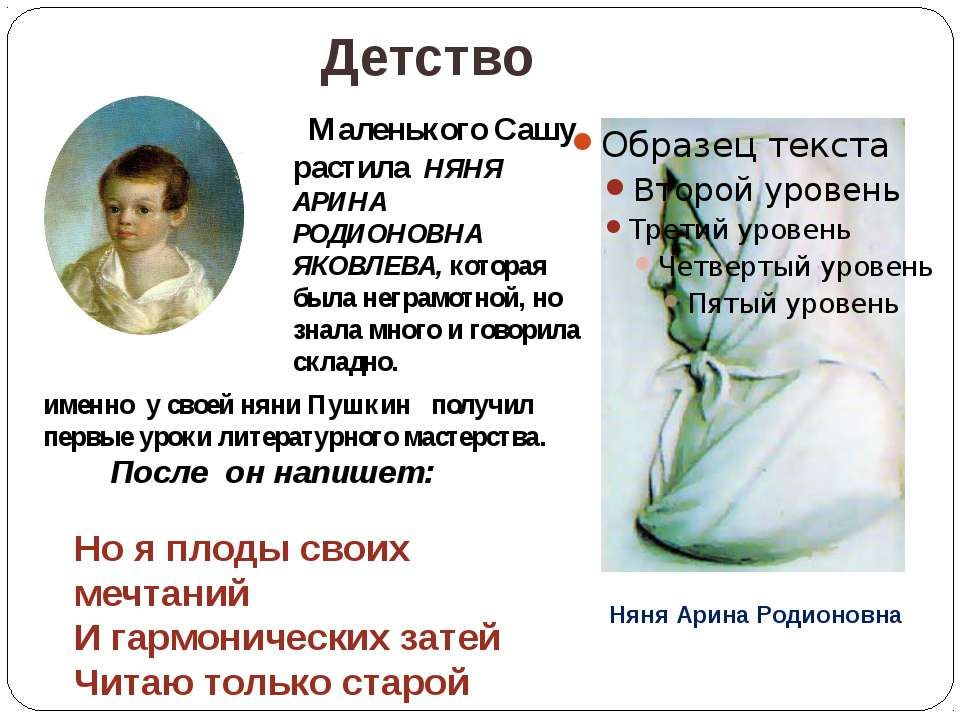 Детство Маленького Сашу растила НЯНЯ АРИНА РОДИОНОВНА ЯКОВЛЕВА, которая была ...