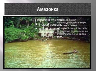 Амазонка Амазонка, самая полноводная река в мире, образует и самый обширный р...