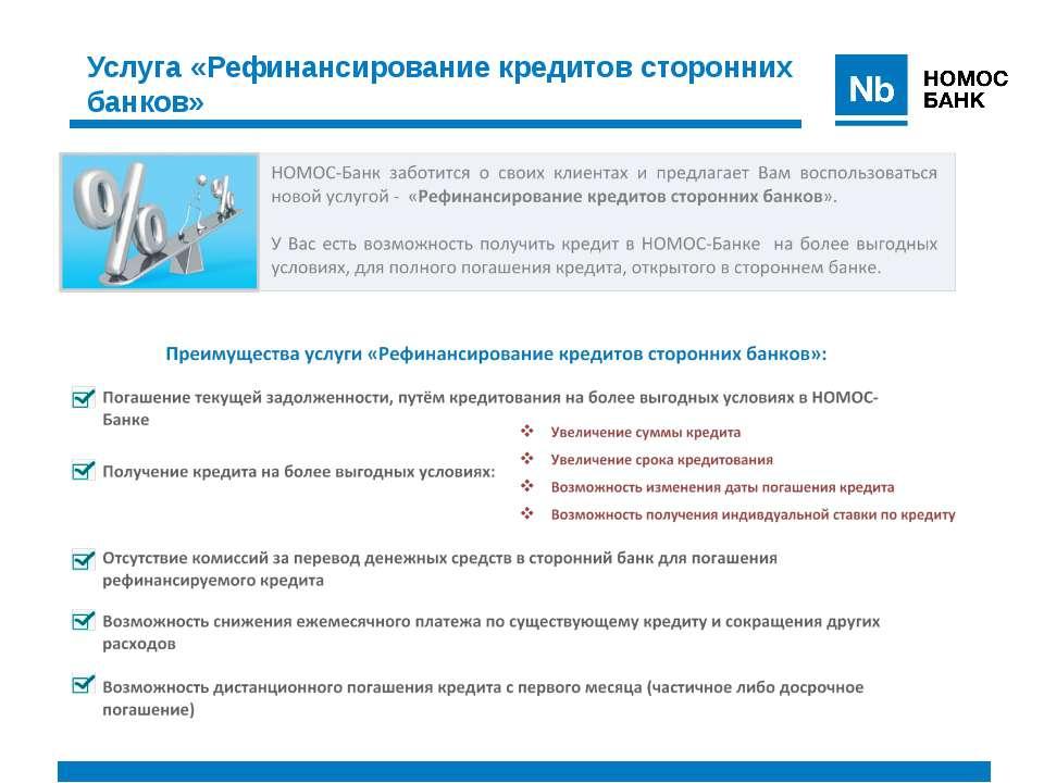 Услуга «Рефинансирование кредитов сторонних банков»