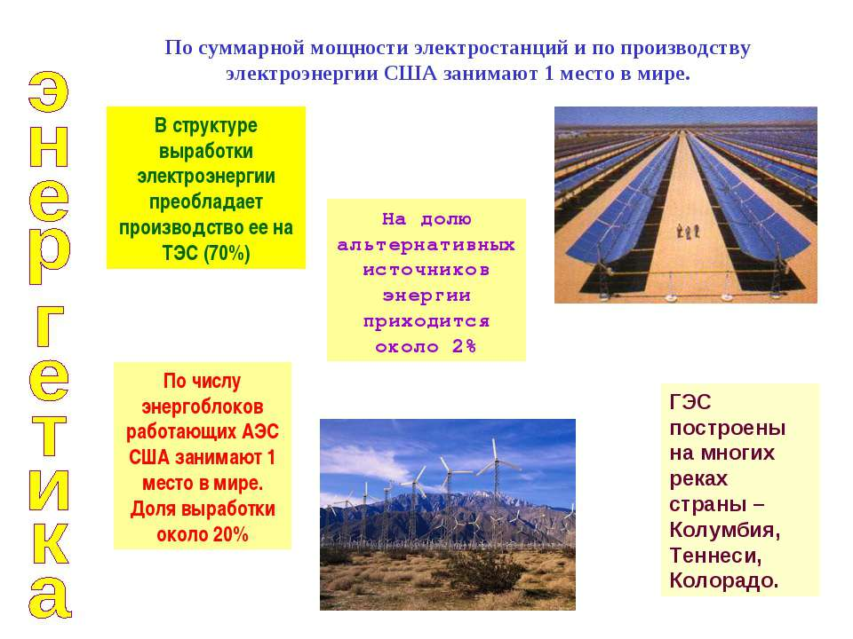 По суммарной мощности электростанций и по производству электроэнергии США зан...