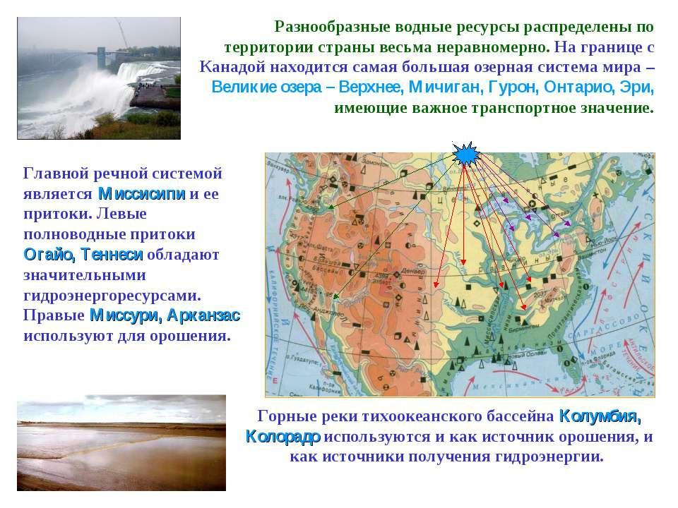 Разнообразные водные ресурсы распределены по территории страны весьма неравно...