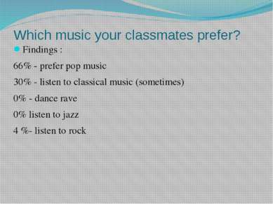 Which music your classmates prefer? Findings : 66% - prefer pop music 30% - l...