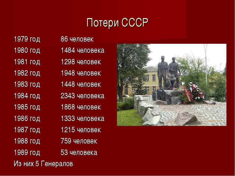 Потери СССР 1979 год 86 человек 1980 год 1484 человека 1981 год 1298 человек ...