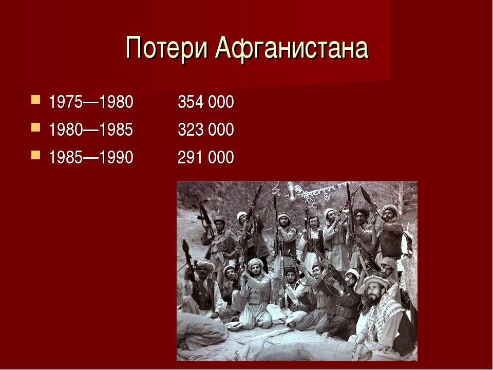 Потери Афганистана 1975—1980 354 000 1980—1985 323 000 1985—1990 291 000
